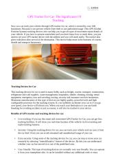 GPS Tracker For Car- The Significance Of Tracking.pdf