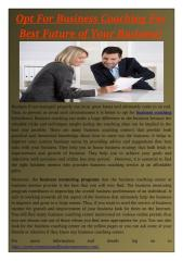 Opt For Business Coaching For Best Future of Your Business!.pdf