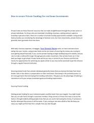 How to secure Private Funding For real home Investments.pdf